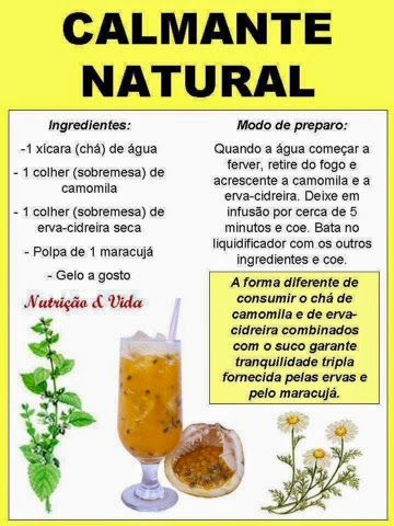 """Receitinha de Calmante Natural bem refrescante e fácil de fazer.   """"A forma diferente de consumir o chá de camomila e de erva-cidreir..."""