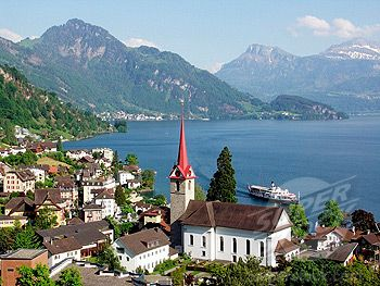 Tranquil...have visited here and it's one of my FAVORITE places on earth.  Lake Lucerne, Switzerland
