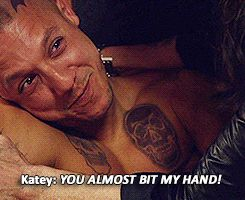 While filming the OD scene where Gemma (Katey Sagal) had to make Juice (Theo Rossi) sick to get the drugs out of his system.
