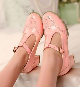 Ladies-Wing-Tip-Womens-Pumps-T-Strap-Mid-Heel-Retro-Vintage-Shoes-Mary-Janes-hot