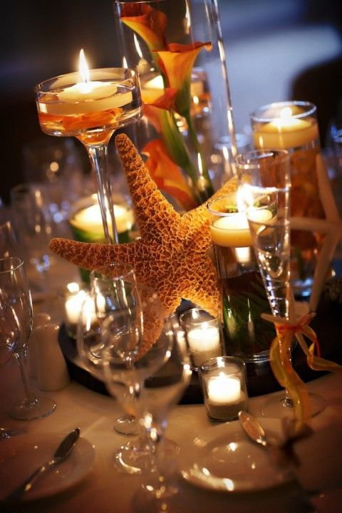 73 best beach centerpieces images on pinterest table centers starfish centerpiece for beach wedding floating candle beach wedding table decor idea junglespirit Gallery