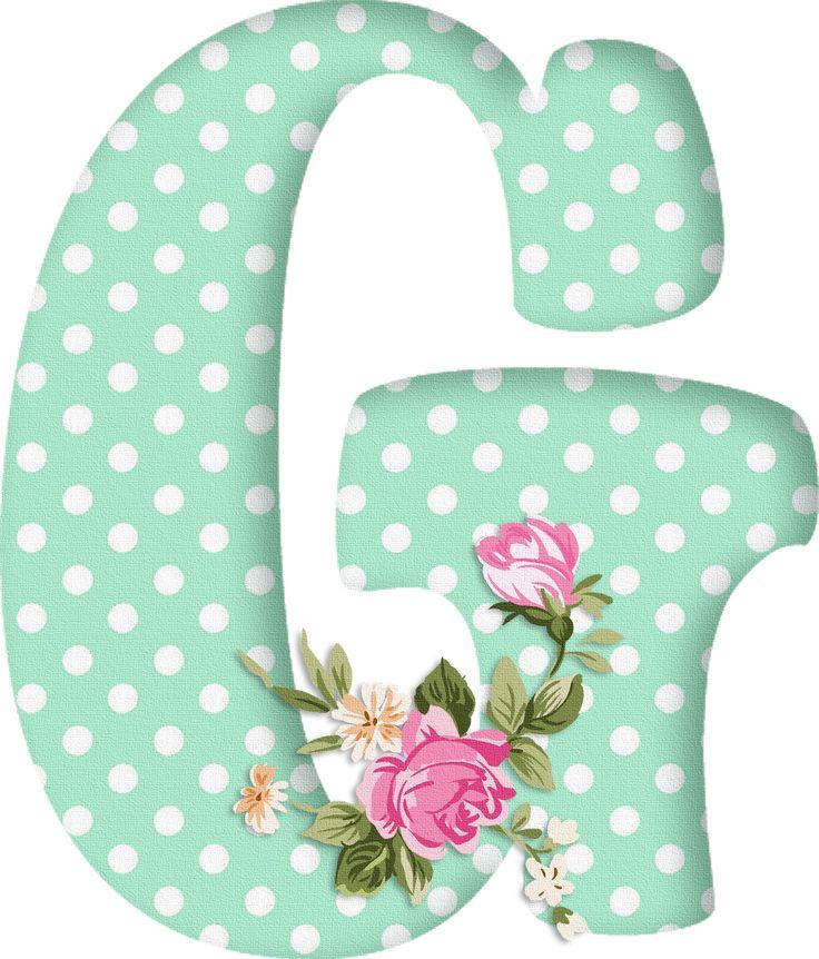 PAPIROLAS COLORIDAS: Abecedario con flores. Letras mayúsculas verdes, puntos blancos. Letra G.