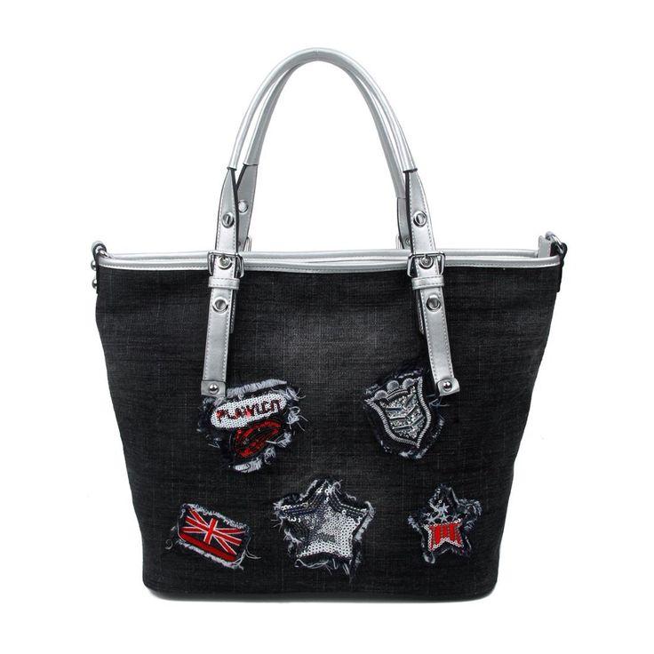 OBC DAMEN JEANS TASCHE METALLIC Shopper Handtasche Schultertasche Nieten Applikationen Beuteltasche Hobo-Bag Henkeltasche CrossOver…