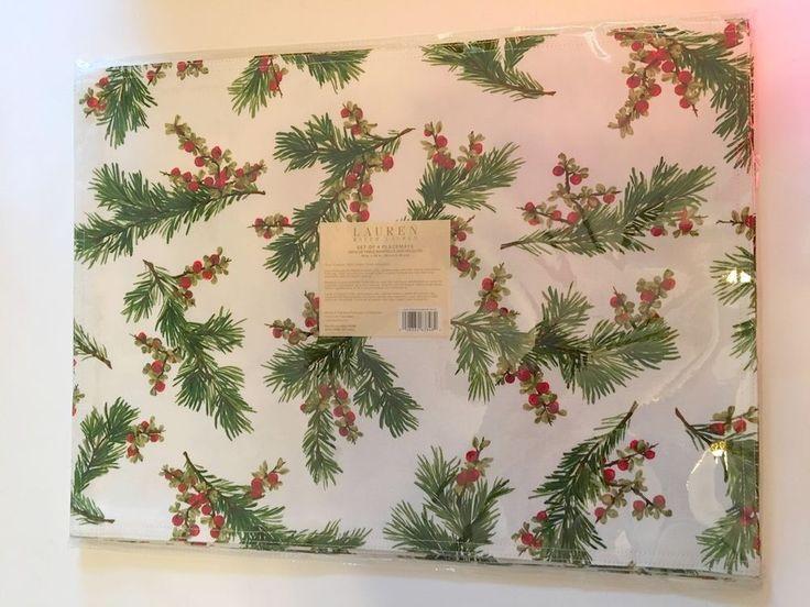 Ralph Lauren Table Linens Part - 41: Ralph Lauren PLACEMATS Set 4 NWT Cedarberry White Floral 14x19 Christmas  Holiday #RalphLauren · Table LinensChristmas ...