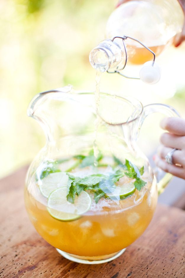 Ingredients:    1 1/2 cup top shelf vodka    4 cups chilled green tea    Juice from 2 limes    1/4-1/2 cups raw granulated sugar (depending on sweetness preferred)    15-20 fresh mint leaves    *Add first four ingredients in a pitcher, stir well and chill for at least 30 minutes. Add fresh mint and serve on the rocks (do not chill with mint–it will become bitter). This will make one full pitcher with ice.