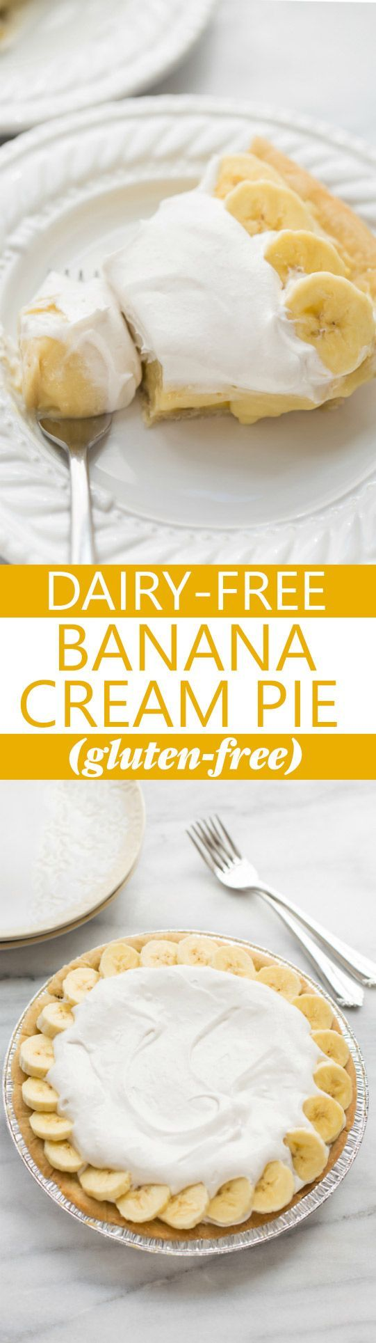 Dairy-Free Banana Cream Pie! Made with REAL dairy-free vanilla pudding. The perfect Thanksgiving dessert for guests with food allergies! (Gluten-Free) #glutenfreepie #dairyfreepie #glutenfreethanksgiving
