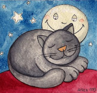 Gatto e Luna, illustrazione di Segantin Giulia