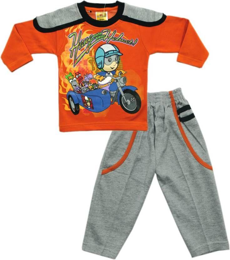 Kid's #Care Boys & #Girls #Casual #T-shirt Pant  (Orange)