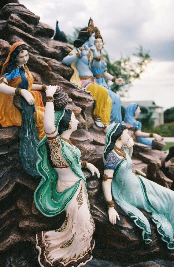 Beautiful perspective of the Gopis and Shree Radha Krishn at Radha Madhav Dham
