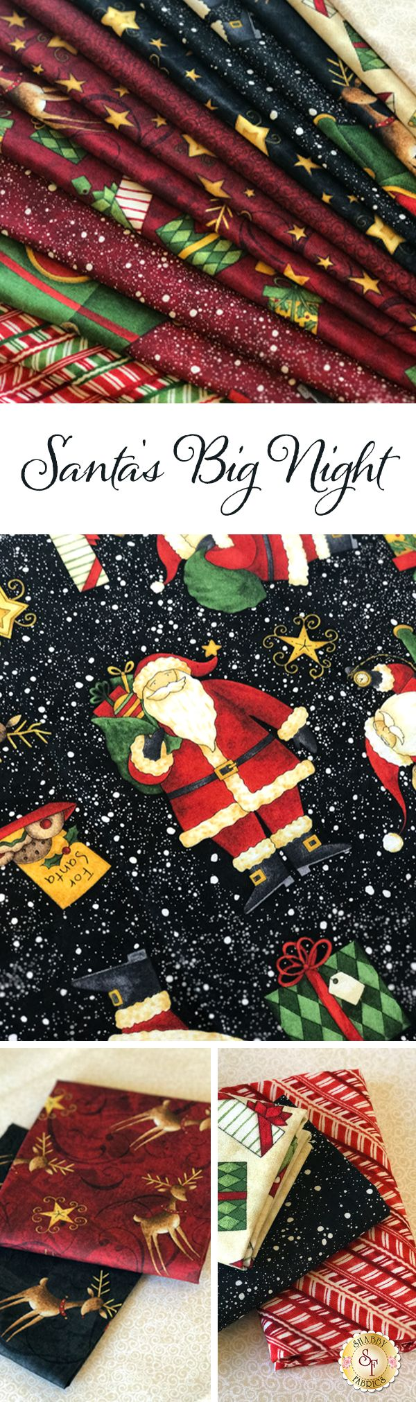 Santa's Big Night by Debbie Mumm for Wilmington Prints is a festive holiday fabric collection available at Shabby Fabrics