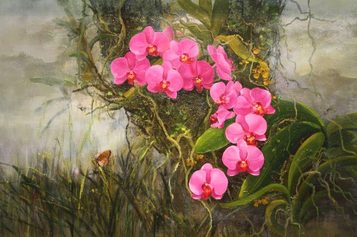 Pink Orchid by Choo Ai Loon, 60 x 90cm, Oil on Canvas, 2007