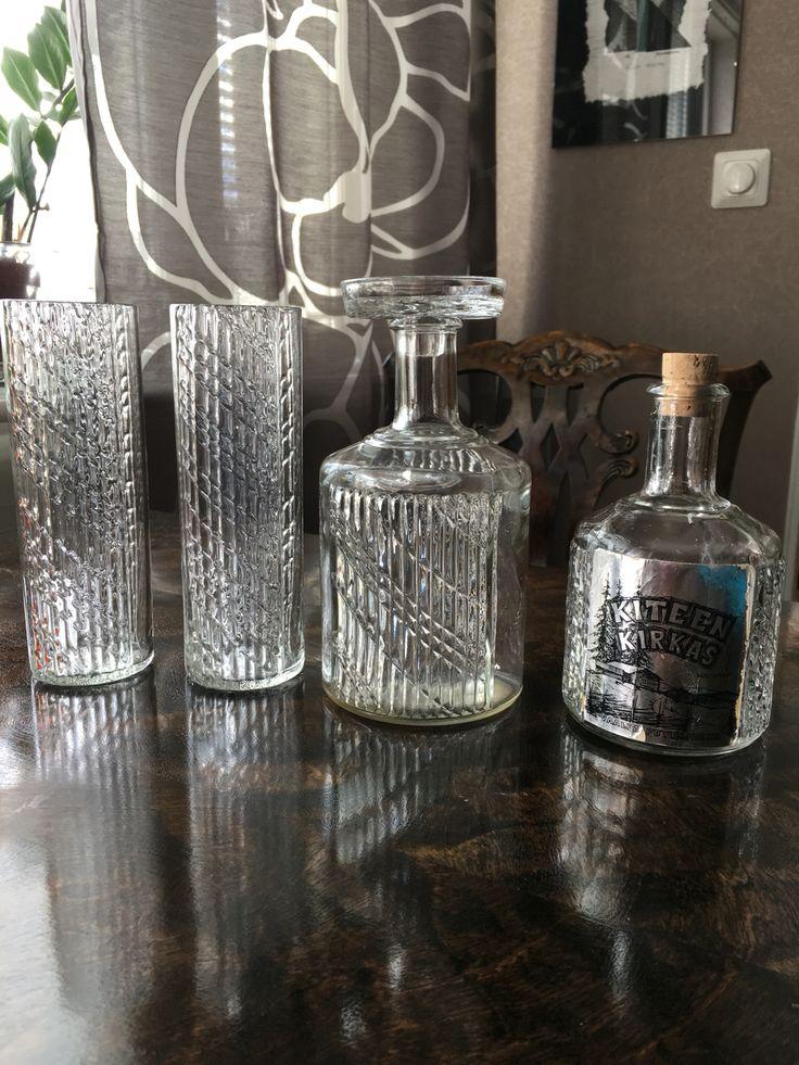 Flindari, Nanny Still, Riihimäen Lasi karahvi ja lasit, sekä pullo ( Kiteen kirkas).