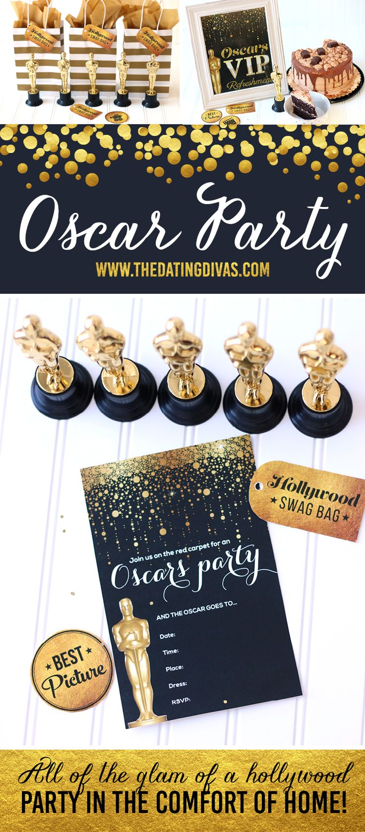 I LOVE watching awards shows and these Oscar Party Printables are beautiful!! I'm so excited!!. Printables designed by www.jabcreativeaustralia.com www.TheDatingDivas.com