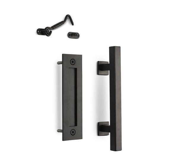 12 Square Sliding Barn Door Pull Handle With Flush Plate Privacy Latch Matte Black Contemporary Hardware Kit Door Pull Handles Barn Door Handles Hardware Barn Door Handles