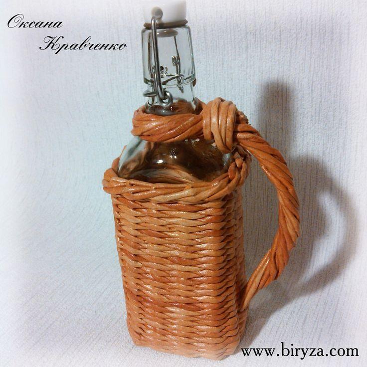 Бутылки плетеные weaving paper, плетение из бумаги