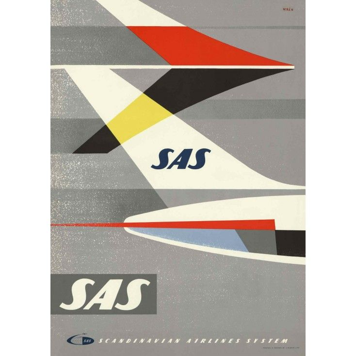 Come to Sweden Fly with SAS Vintage Travel Poster: Once this poster made Sweden look great, now it will do the same for your home! Published in the 1960's. The original posters are found by Magnus Londen - a dedicated Poster Hunter and an expert on Scandinavian travel history, he is today a sought-after lecturer, both in Finland and abroad.