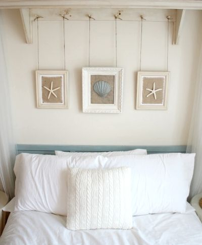 Hanging frames from string  http://www.completely-coastal.com/search/label/Starfish%20Crafts