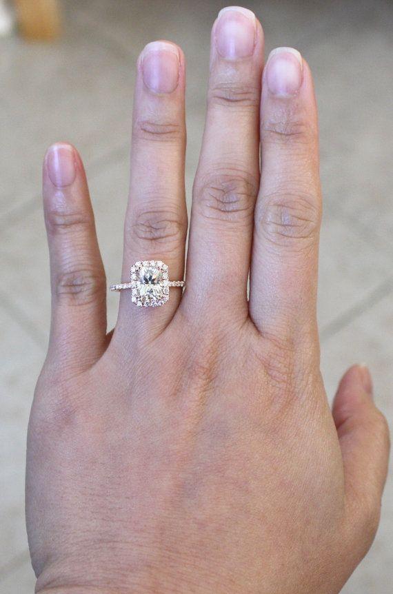 Radiant Cut 14k rose gold. equivalent to 1.7ct diamond $2270 (Moissanite?)