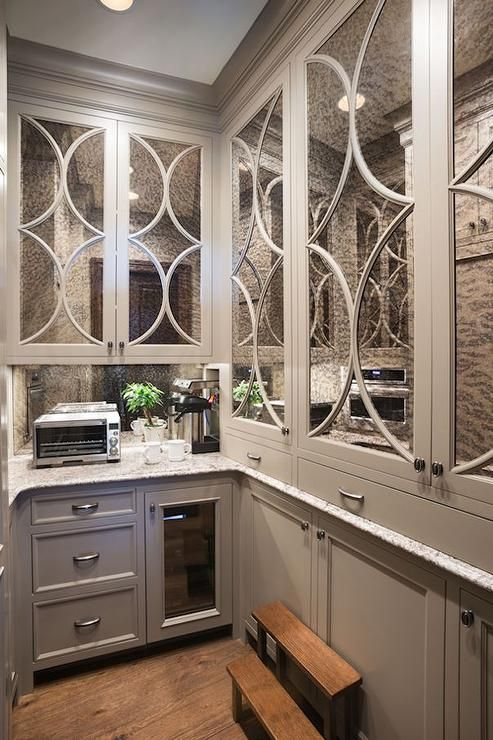 Gray Butler S Pantry Boasts Antiqued Mirrored Eclipse