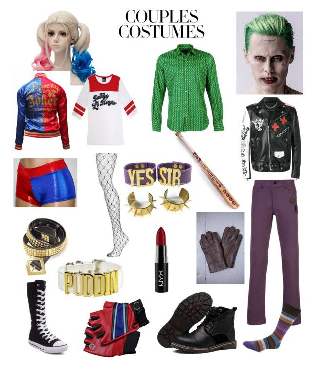 Halloween Couples Costumes: Harley Quinn & Joker by anca2 on Polyvore featuring polyvore, fashion, style, Topshop, Yang Li, Luchino Camicie, Marc Jacobs, Paul Smith, NYX, Converse and clothing