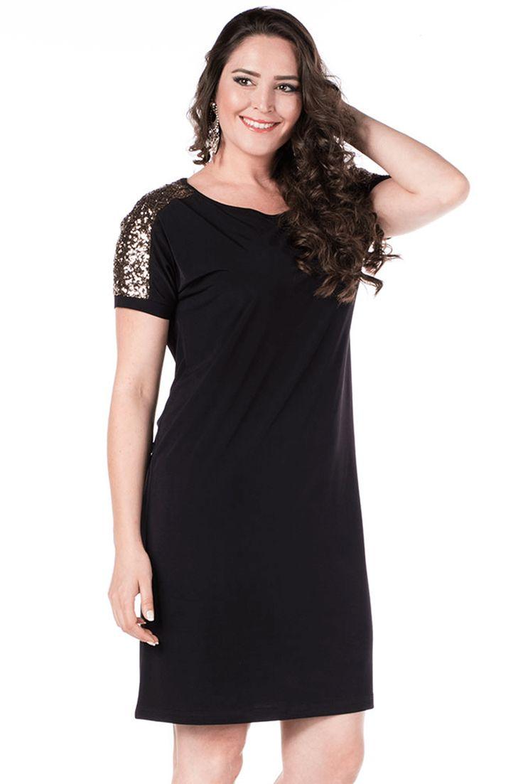 VALERİA FRATTA - Omuzlar Payet Detaylı Siyah Elbise-Abiye VF7032