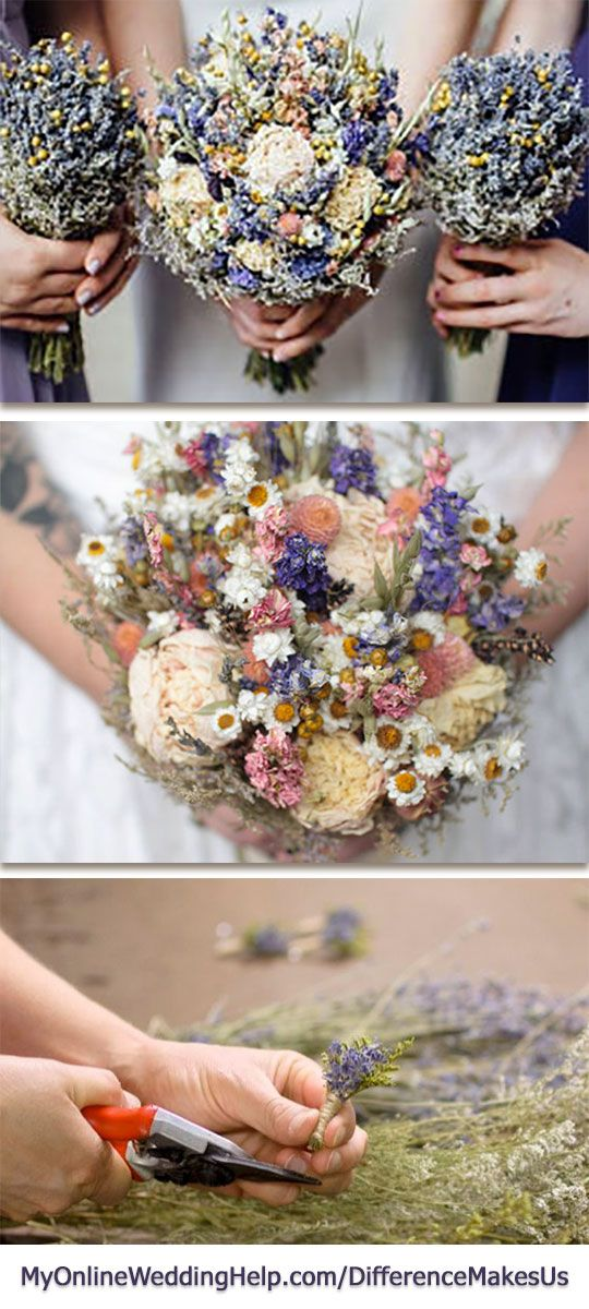 Unique wedding bouquet idea: use dried wildflowers in the bouquets and boutonnieres. They give a nontraditional look to otherwise traditional wedding flowers.