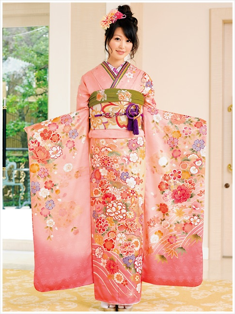 Beautiful furisode! Pink + light green is such a spring kimono classic! ^^