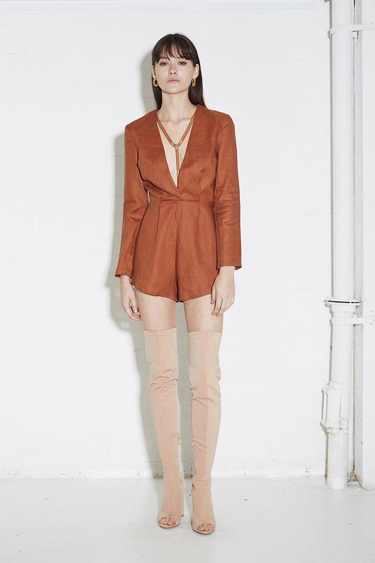 THIRD FORM SPRING 16 'HOLD TIGHT PLAYSUIT'  #thirdform #linen #fashion #streetstyle #style #minimal #trend #rust #minimalfashion