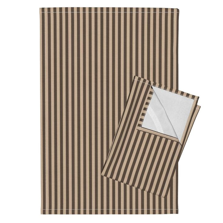 Orpington Tea Towels featuring Steampunk - Brown and beige stripes by itzuki87 | Roostery Home Decor