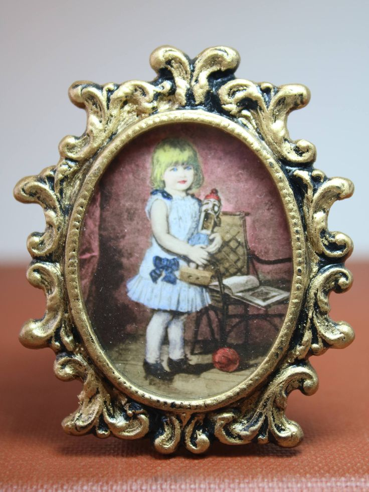 Dollhouse Miniature Framed Little Blonde Girl with Toys Hand Colored Print by Leeds (1/12 Scale) by NAMEMINIATURES on Etsy