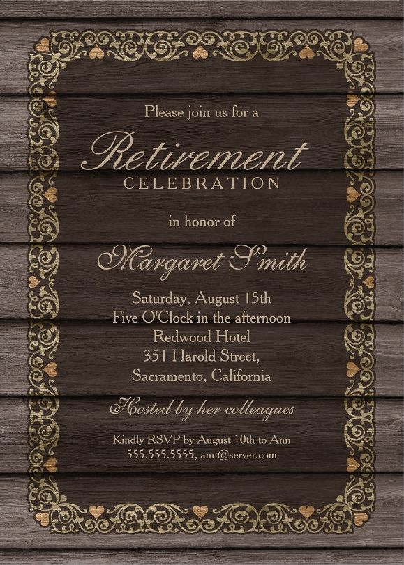 Rustic Wood Retirement Party Invitation Template - Golden frame and rustic wood retirement celebration invites. Customize these retirement invitations online. We invite you first to order one sample and see how it looks like when printed. More at http://superdazzle.com