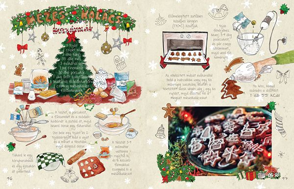 Dalocska's bakery – Illustrated recipe book on Behance Gingerbread #recipe #illustrated #illustration