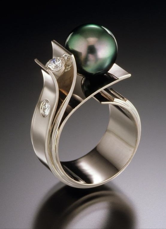 Ring | Adam Neeley. 'Flower of the Sea'. Tahitian pearl, diamonds and 14kt white gold. .:!:.