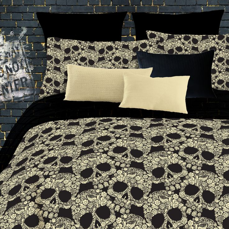 Wayfair: Veratex Flower Skulls Comforter Set in Black  Tan; Includes comforter, two pillow cases  bed skirt ($40.85)