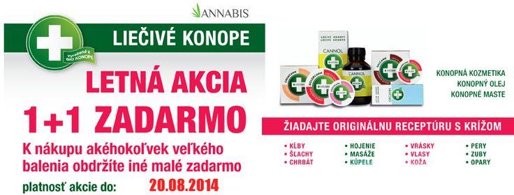 Letná akcia Annabis - Kúp jedno veľké balenie - získaj jedno malé. Viac na www.produktyzkonope.sk