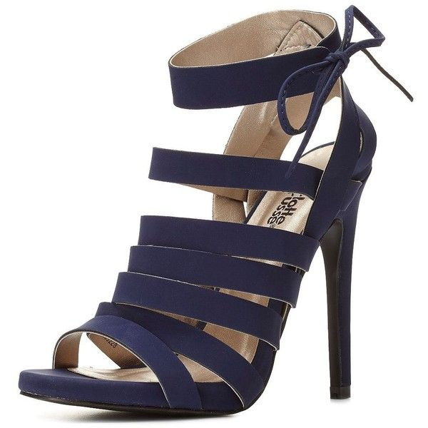 Charlotte Russe Navy Strappy Caged Heels by Charlotte Russe at... ($39) ❤ liked on Polyvore featuring shoes, sandals, strappy sandals, high heel stilettos, high heel shoes, strap sandals and strappy high heel sandals
