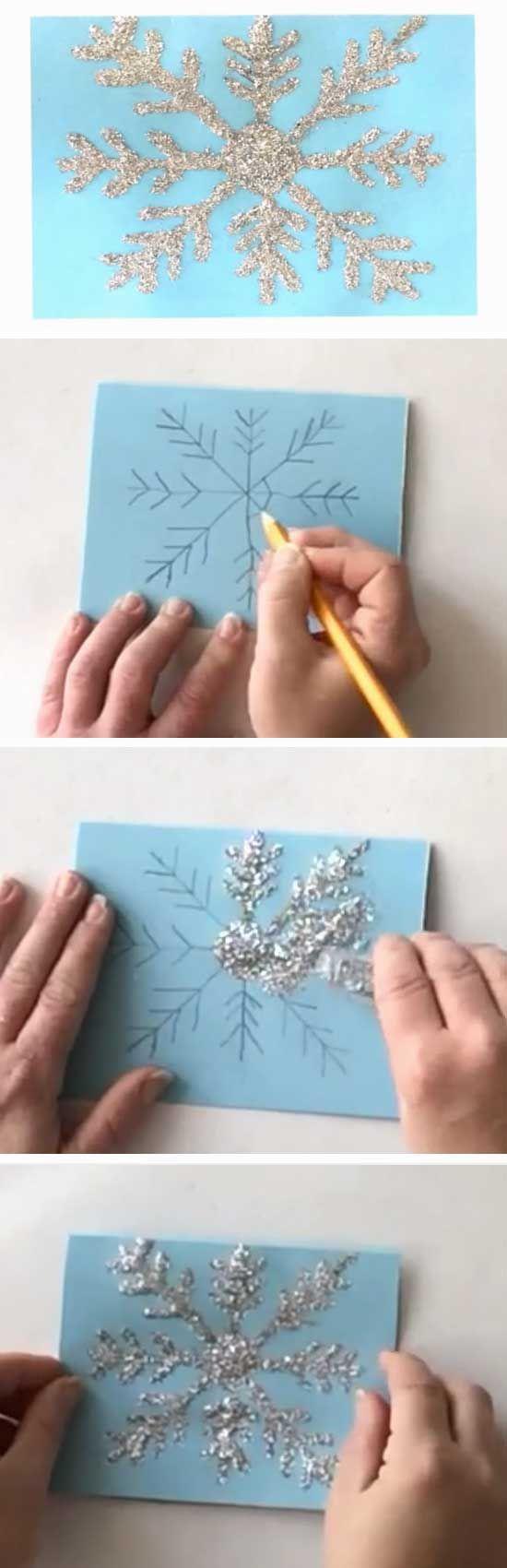 Shiny Snowflake | 20 + DIY Christmas Cards for Kids to Make