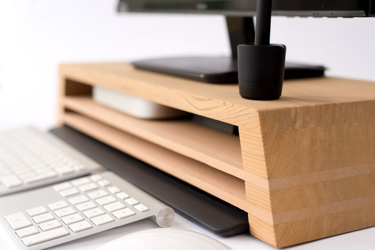 Ultimate Display Stand with Mac mini, Wacom, Keyboard storage opportunities by StudioHaft on Etsy
