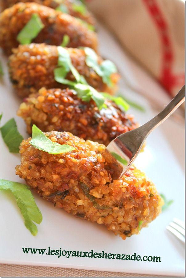 recette de kibbeh libanaise, facile sans viande (boulgour, aubergine)