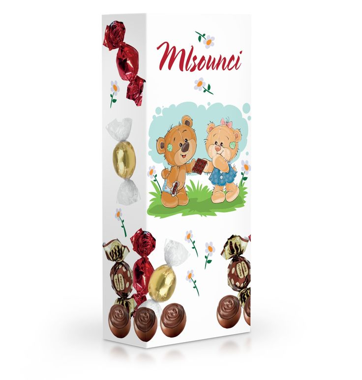 Čokoládové plněné pralinky v dárkové krabičce pro malé mlsounky.