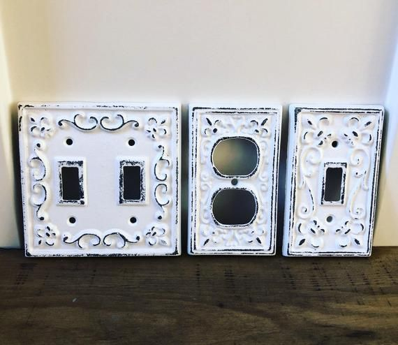 Light Switch Cover Plate Outlet White Shabby Chic
