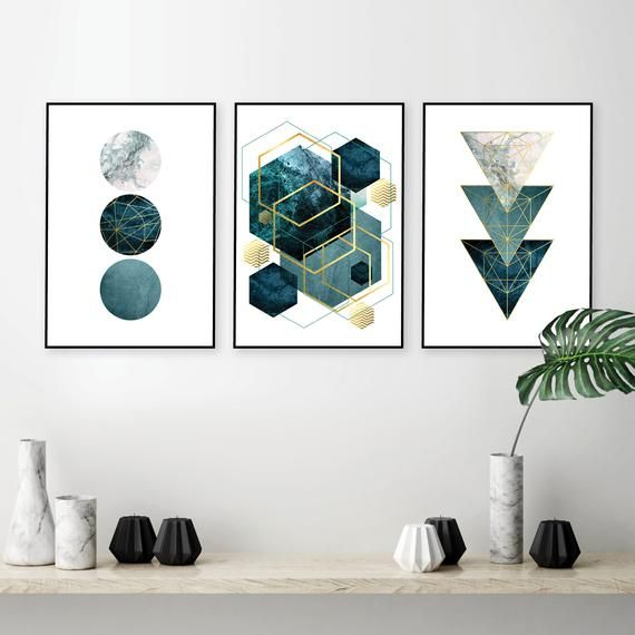 Teal Wall Art Digital Download Abstract Geometric Art Etsy Gold Wall Decor Printable Wall Art Wall Art Decor