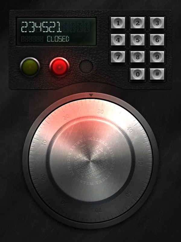 This tutorial will explain how to create an electronic safe lock interface in Photoshop.