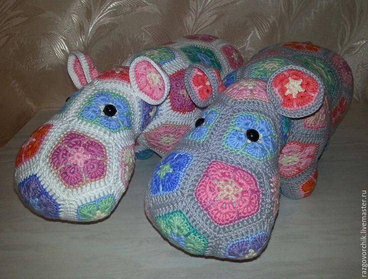 Купить Бегемот вязаный из мотивов - разноцветный, бегемот, бегемот вязаный, бегемот игрушка, бегемотик, бегемоты
