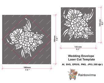 Hochzeit Umschlag Laser Cut Template.Floral Muster für Taufe, Baby-Duschen, Einladungen, Geburtstage, Hochzeiten.