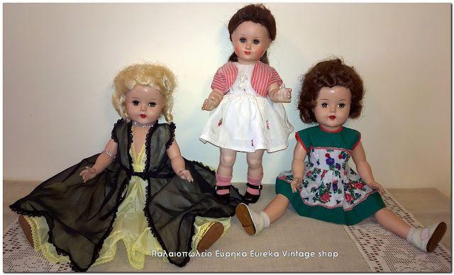 2 αμερικάνικες κούκλες και 1 γερμανική από την δεκαετία του 1950's.