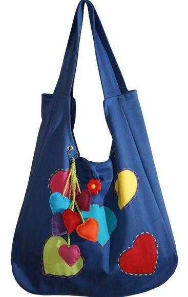 Bolsa corações em jeans azul | Marissol bolsas artesanais em tecido | E5252 - Elo7