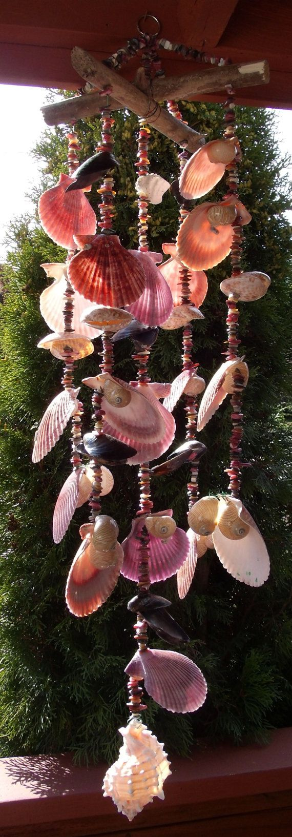 Sea Shell Wind Chime 10 Linear Nauticas & Nobilis by Eagle414, $37.95-Or make it yourself in a weekend from your collection