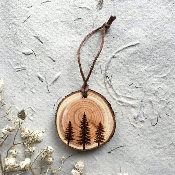 Wood burned Trio of Evergreen Trees // Magnet or by GracemereWoods                                                                                                                                                                                 More