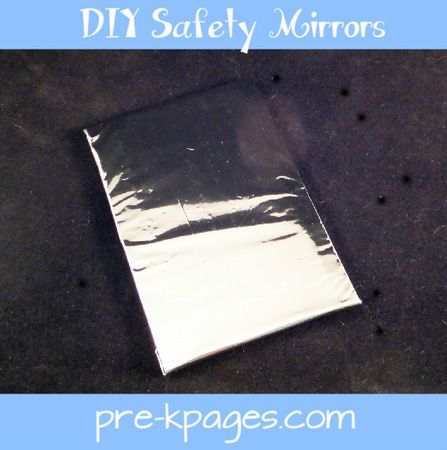 DIY safety mirrors for your science center via www.pre-kpages.com #preschool #kindergarten #science